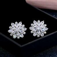 Snowflake Cubic Zircon Crystal Stud Earrings Silver Wedding Women Gorgeous Gift