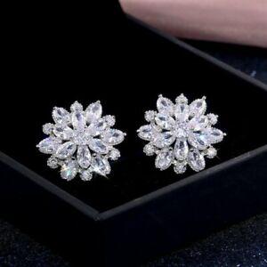 Snowflake Cubic Zircon Crystal Stud Earrings Silver Wedding Women Gorgeous Gift