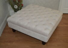 Square Chesterfield Style  Deep Button  Footstool in Crush Ivory Colour Fabric