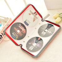 80 Sleeve CD DVD Blu Ray Disc Carry Case Holder Bag Wallet Storage Organizer Red