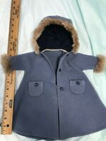 Vintage 1950s Blue wool Baby Doll Coat fur Cissy Revlon Size German Bisque 18""