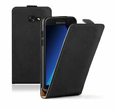 SLIM BLACK Leather  For Samsung Galaxy A5 2017 (+2 FILMS) Flip Case Cover Pouch