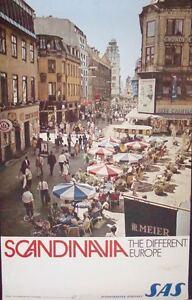 SAS AIRLINES SCANDINAVIA DIFFERENT EUROPE COPENHAGEN STROGET Travel poster 1968