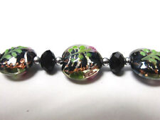 Lampwork Focal  Bead Black Flower Flat Round 20 mm DIY Jewelry Craft 5 pcs