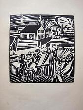 Pintora a la cavallete Frans Masereel madera corte 1920 pintor grupo artistas