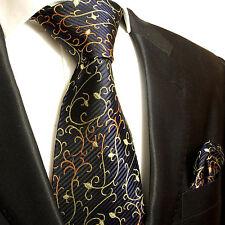 XL Krawatten Set 2tlg blau schwarz extra lange 165cm Seidenkrawatte + Tuch 534