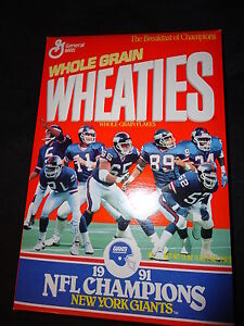 1991 New York Giants Wheaties Cereal Box NFL Super Bowl XXV Champions Football