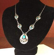 Sterling Silver Bear Claw Turquoise Shadow Box Necklace 5 Stations 925 Vintage