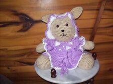 crochet 12in sitting Claudia rabbit toy animal lavendar dress w/bonnet+bloomers