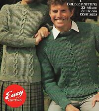 "1778 LADIES & MENS DK EASY CABLE JUMPER 32-46""  VINTAGE KNITTING PATTERN"
