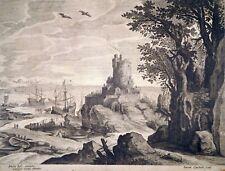 Kupferstich, Küstenlandschaft, Paul Bril/ D. Custos, ~1610, Hollstein 10