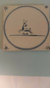 18th Century Delft Tile, Stag Deer