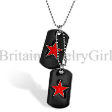 Free Engraving Red Star Black Dog Tag Pendant Military Necklace for Men Boys
