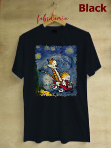 Custom Art Calvin and hobbes stary night Unisex Custom tee Shirt Size S - 3XL