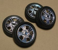 """Revell 20"""" Style Chrome 5 Spoke Mags w/Low Profile Tire Set & Back hubs 1/25"""
