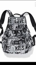 Victorias Secret Sequins Bling Love Me Kiss Full Size Backpack Bag Tote NWT