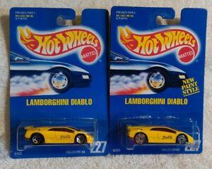 Hot Wheels Blue Card Lamborghini Diablo #227 wheel Variation lot. One w/creases