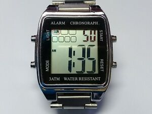 Unbranded - Retro Chrono LCD Watch. Tri Colour LCD. Stainless Bracelet (JC307)