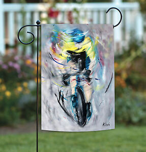 Toland The Cyclist 12.5 x 18 Artistic Bike Bicycle Painting Garden Flag