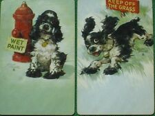 Staehle Butch Cocker Spaniel Dog Wet Paint & Keep Off Grass Art Swap Cards Oldie