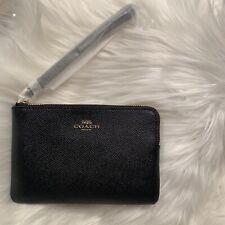 NWT New Coach F58032 Corner Zip Wristlet Wallet Crossgrain Leather Black $78