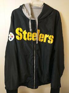 Pittsburgh Steelers Men's Jacket Size XXL Reversible Full Zip Long Sleeve Hooded