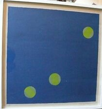 EDWARD AVEDISIAN 1964 MODERN ART SIGNED HARD EDGE SCREEN PAINTING BLUE GREEN