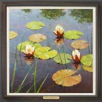 "Hand painted Oil painting original Art Landscape Water lilies on canvas 30""x30"""
