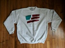 Vtg 90s USA Flag LOGO XL CREWNECK SWEATER Paint SPLASH RETRO GREEN TEAL July 4th