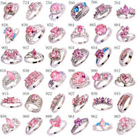 Fashion Wedding Jewelry Pink & White Topaz AAA Gemstone Silver Ring Size 6-13