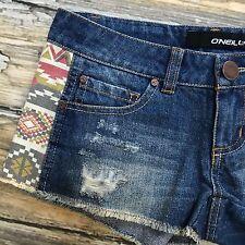 O'Neill Denim Shorts Womens 00  Distressed Tribal Aztec Festival Blue Fringe New
