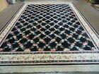 "8'8"" X 12' American Made KARASTAN Flower Garden of Eden Black 509/1270 Wool RUG"