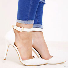 WOMENS LADIES HIGH HEEL POINTY TOE STILETTO SANDALS ANKLE STRAP COURT SHOES 3-8