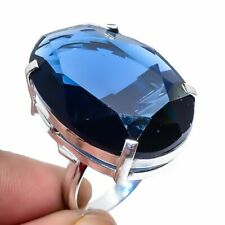 London Blue Topaz Gemstone Handmade 925 Sterling Silver Jewelry Ring Size 9.5