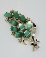 Vintage Brooch Gold Tone & Lucite Floral Spray Pretty Kitsch Costume Jewellery