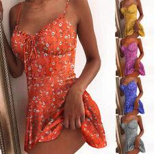 Women Summer Sexy Mini V Neck Suspender Chrysanthemum Beach Slip Dress Sundress