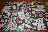 Pillow Shams Brown Jacobean Floral Quilted 100% Cotton Standard Size Pair NICE