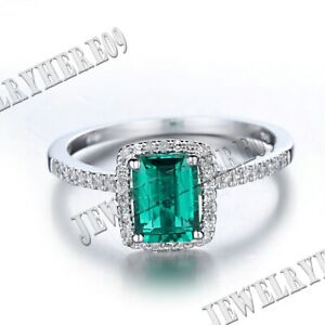 10K WHITE GOLD FLAWLESS 7x5MM TREATED EMERALD NATURAL SI DIAMONDS LADY HALO RING