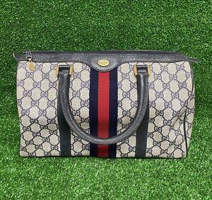 VTG 80s GUCCI Accessory Collection Guccissima PVC Monogram Satchel Handbag Bag