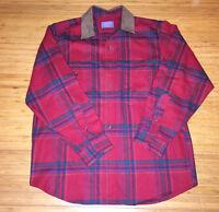 Vtg Pendleton Flannel Shirt 100% Wool Plaid Blue/Red Long Sleeve Sz Medium suede