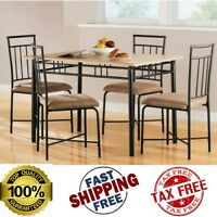5 Piece Wood Metal Dining Set Kitchen Breakfast Table and 4 Chairs Furniture NEW