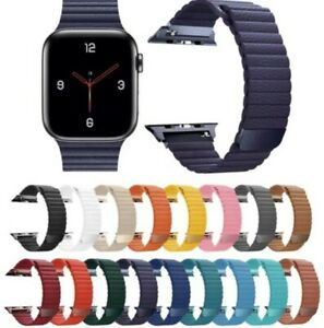 Apple Watch Premium Soft Leather Loop Strap Strong Magnetic Closure Watch Band