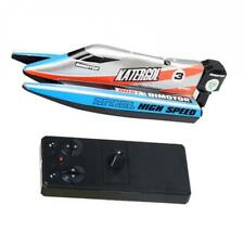 Plastic Blue Mini RC Racing Boat 4 Channel with Controller Toys 14x5x3.5cm