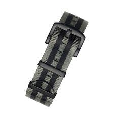 Seatbelt Reloj Correa de Nylon de la OTAN en rayas gris y negro con hardware negro PVD