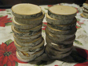 """50 BIRCH WOOD SLICES 2 1/2 """"- 3"""" WOODEN CRAFTS WEDDING ORNAMENTS ROUNDS DRIED"""