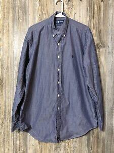 Men's Polo Ralph Lauren Blue/White Striped Yarmouth Long Sleeve Shirt 16 34/35
