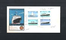 8/2/1979 TRISTAN DA CUNHA SHIPS / VISIT OF Q.E.2  SET OF FOUR ON ONE COVER FDC