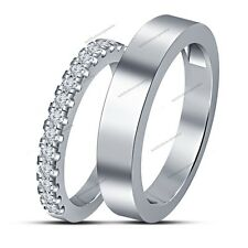 White Gold Finish Shiny His Hers Couple Band Ring With Round Cut D/Vvs1 Diamond