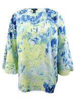 Alfani Women's Plus Size Printed Poet-Sleeve Top
