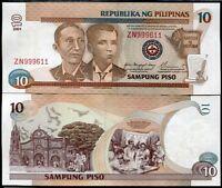 PHILIPPINES 10 PISO 2001 P 187 i SIGN 17 RED AU-UNC